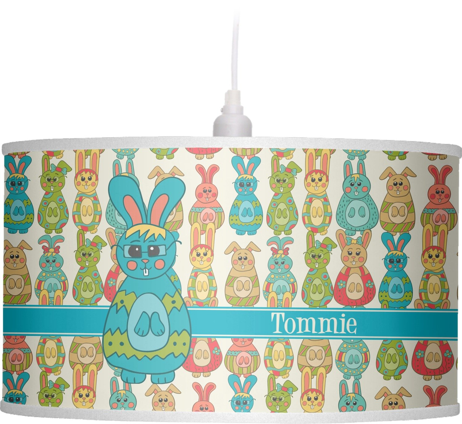 RNK Shops Fun Easter Bunnies Drum Pendant Lamp Linen (Personalized)