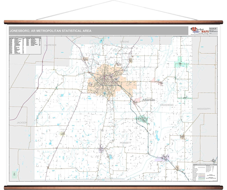 Amazon MarketMAPS Jonesboro AR Metro Area Wall Map 2018