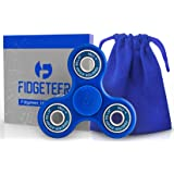 Fidget Spinner [3d Figit] | Tri Spinners | Double Sided Figet Toy with Pouch and Warranty (Street Blue) by Fidgeteer