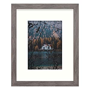 Frametory, Frame with Ivory Mat for Photo, Smooth Wood Grain Finish Easel Stand, Sawtooth Hangers, Real Glass - Landscape/Portrait, Wall/Table Display (Rustic Grey, 8x10 Frame for 5x7 Photo)