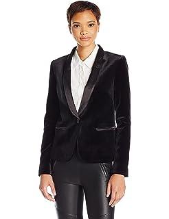 8a8f3341e2e James Jeans Women's Tuxedo Jacket with Satin Leather Lapels In Black Velvet