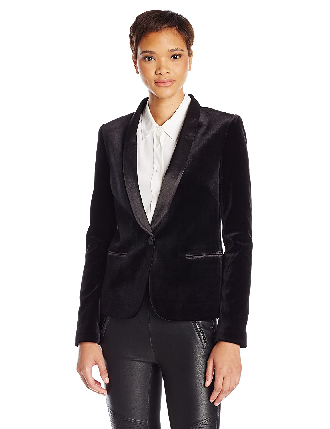 4d288dcae2d Amazon.com: James Jeans Women's Tuxedo Jacket with Satin Leather Lapels In  Black Velvet: Clothing
