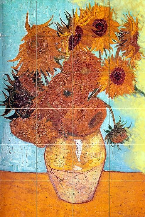 Rikki Knight Van Gogh Art Twelve Sunflowers Design Ceramic Art Tile 8 x 8