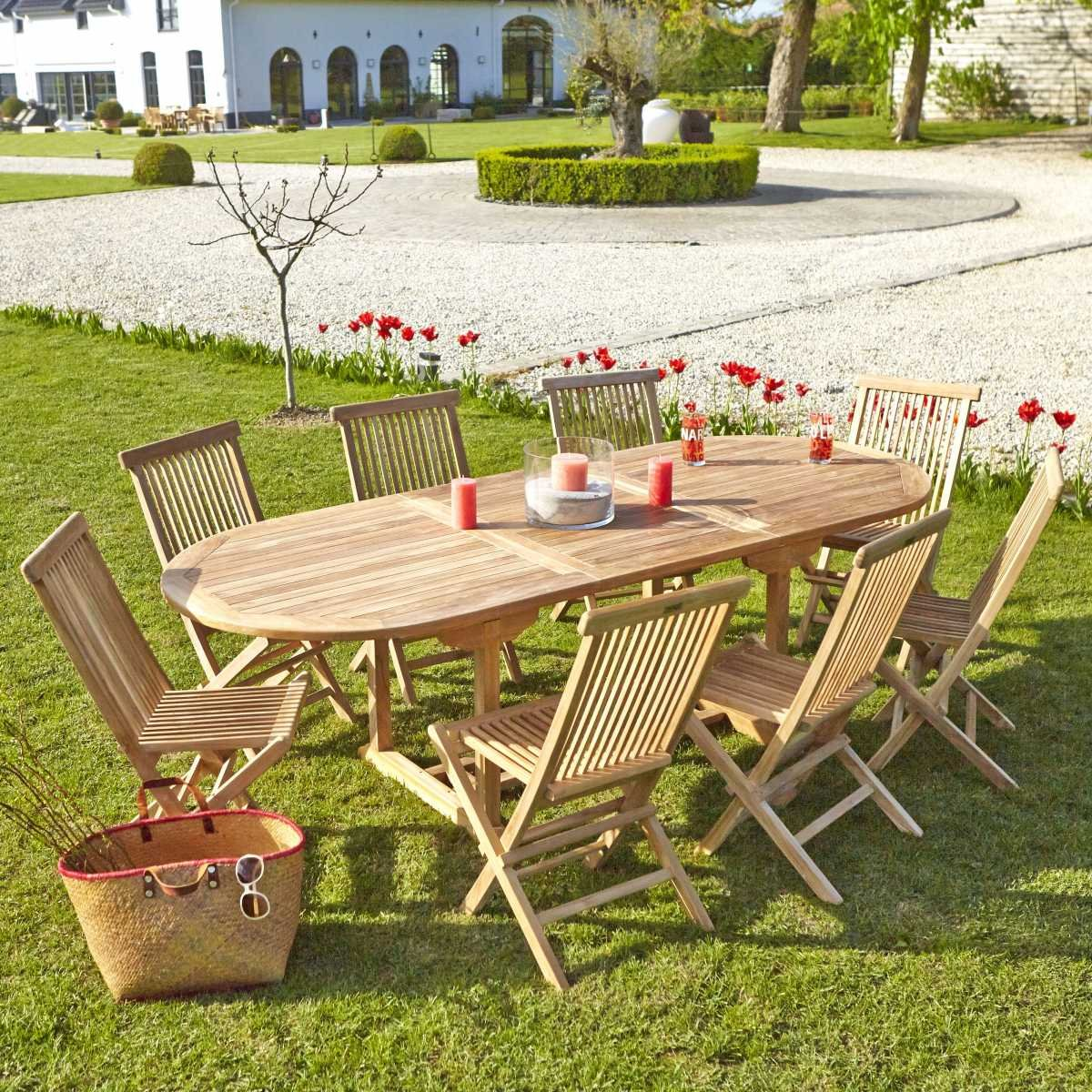 Salon de jardin en TECK BRUT QUALITE GRADE A 8/10 pers - Table ...