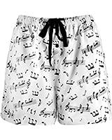 Leisureland Women's Music Notes Cotton Pajama Flannel Boxer Shorts