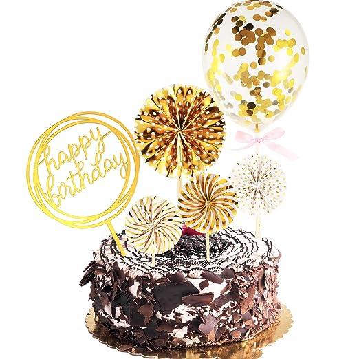 Maitys Feliz cumpleaños Cake Topper Set Papel Ventiladores ...