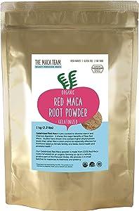 The Maca Team Gelatinized Red Maca Powder, 100% Organic, Fair Trade, GMO-Free Maca Powder, 2.2 Pounds, 111 Servings