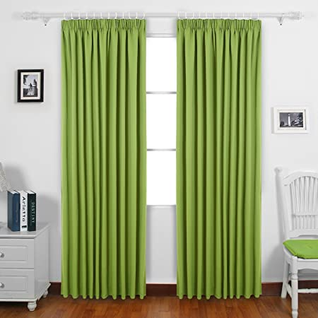 Deconovo Solid Thermal Insulated Ready Made Curtains Tape Top Blackout For Bedroom With Two Matching