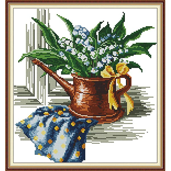 11CT Stamped Cross Stitch Kits Easy Sewing Pattern Pre-Printed Embroidery Kit for Girls-British Teacup 13/×10.6