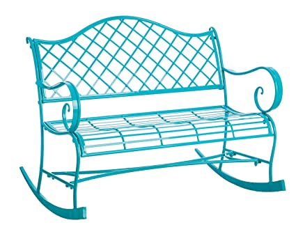 Magnificent Gifted Living Powder Coated Metal Rocker Bench Turquoise Ocoug Best Dining Table And Chair Ideas Images Ocougorg