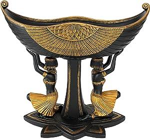 Design Toscano Egyptian Maidens Voyage Pedestal Urn, Two Tone Black & Gold