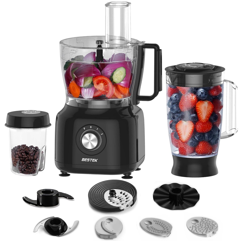 BESTEK Robot de Cocina multifunción 800W, 3-en-1, Procesador de Alimentos y Batidora 1,5L, Copa de Trituración 0,45L para Café y otros ingredientes, ...