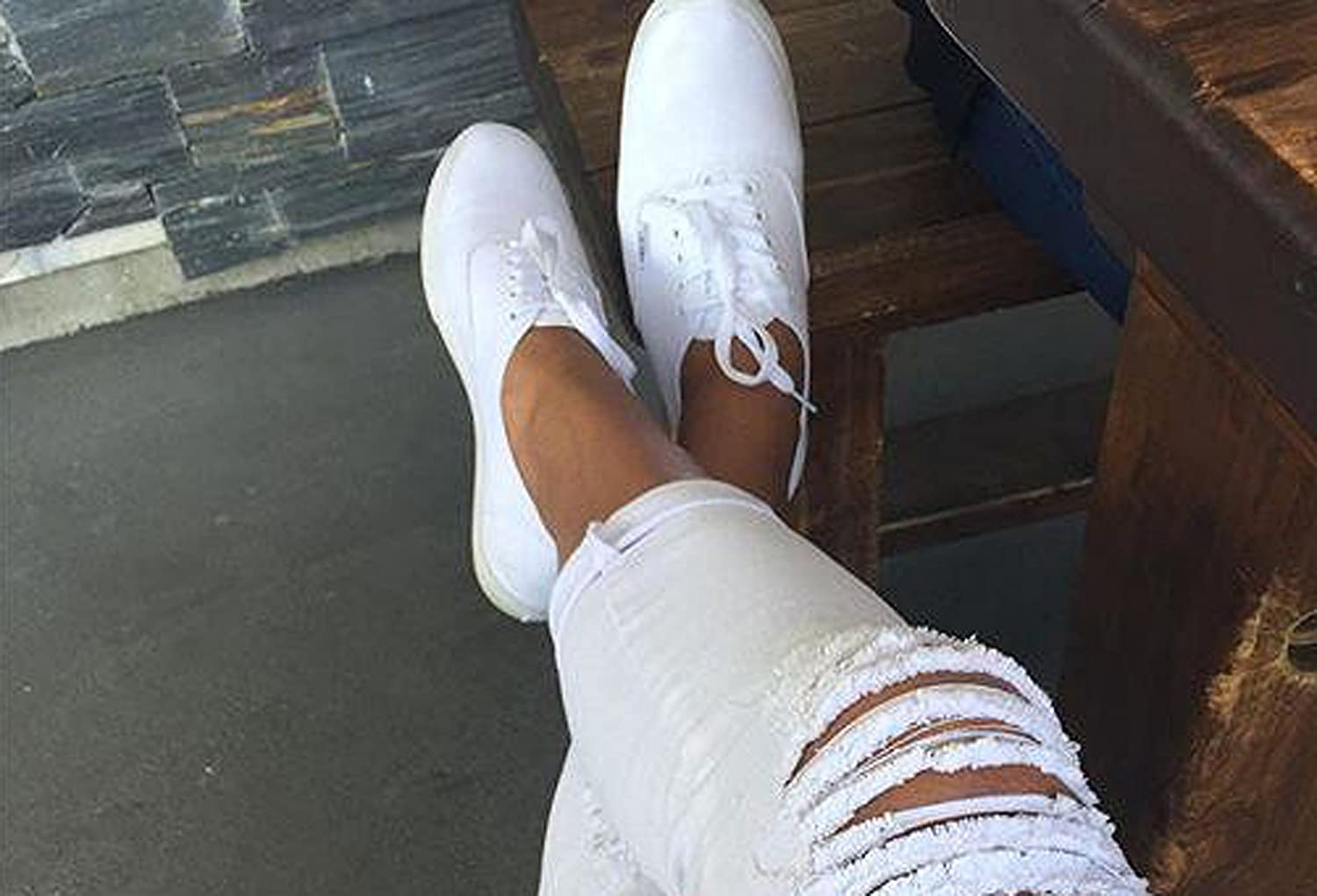 vans authentic white on feet