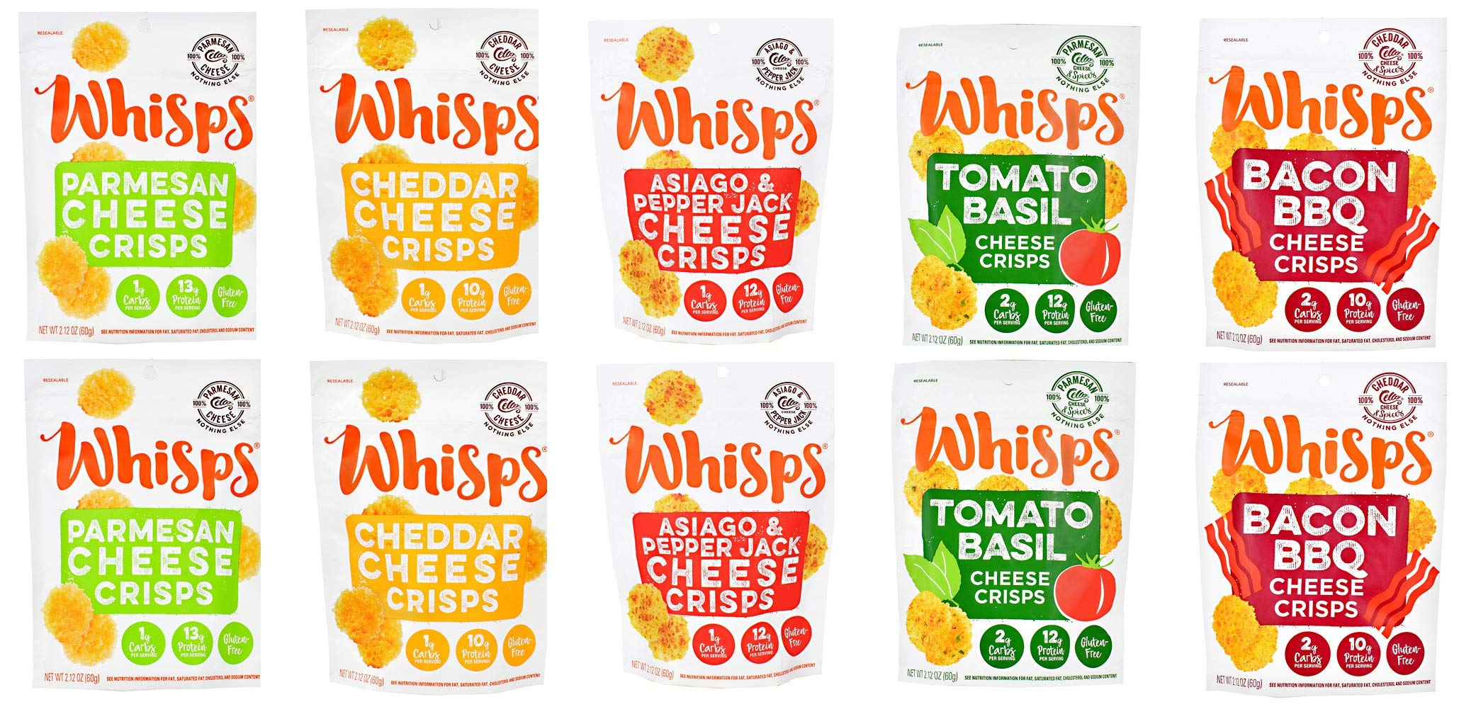 Whisps Cheese Crisps 10 Bag Variety Pack Cheddar Tomato Basil BBQ Bacon Asiago Pepper Jack Parmesean Cheese Crisps KETO FRIENDLY LOW CARB ONLY 300 CALORIES PER BAG