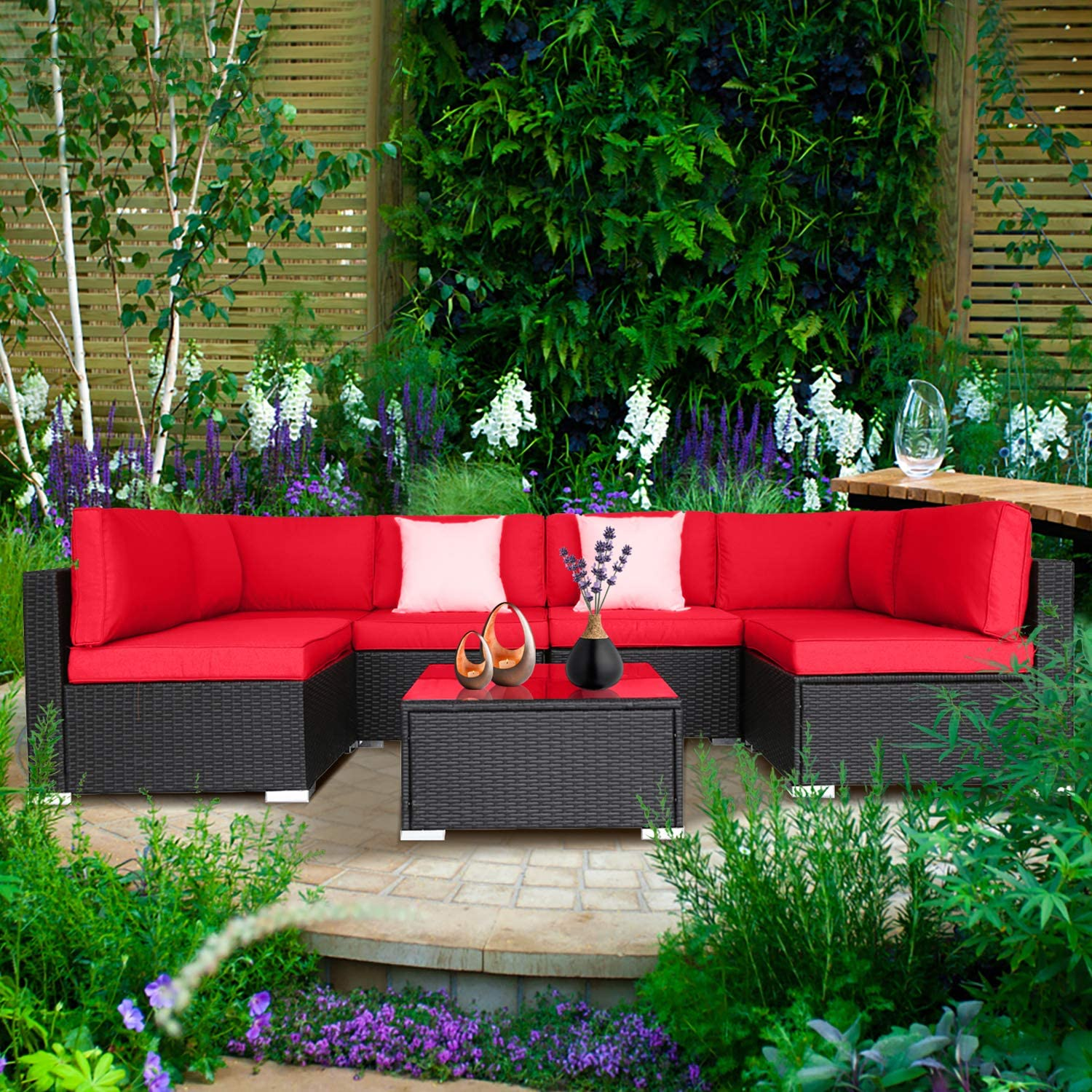 Excited Work 7 PCs Outdoor Patio Furniture Sets PE Rattan Wicker Sofa Sectional Furniture Set with 2 Pillows and Tea Table (Red)