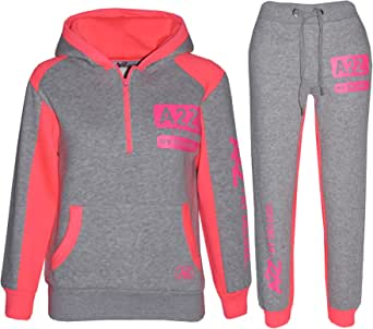 Kids Tracksuit Boys Girls Designer's Zipped Top Bottom Jogging Suit 7-13 Years