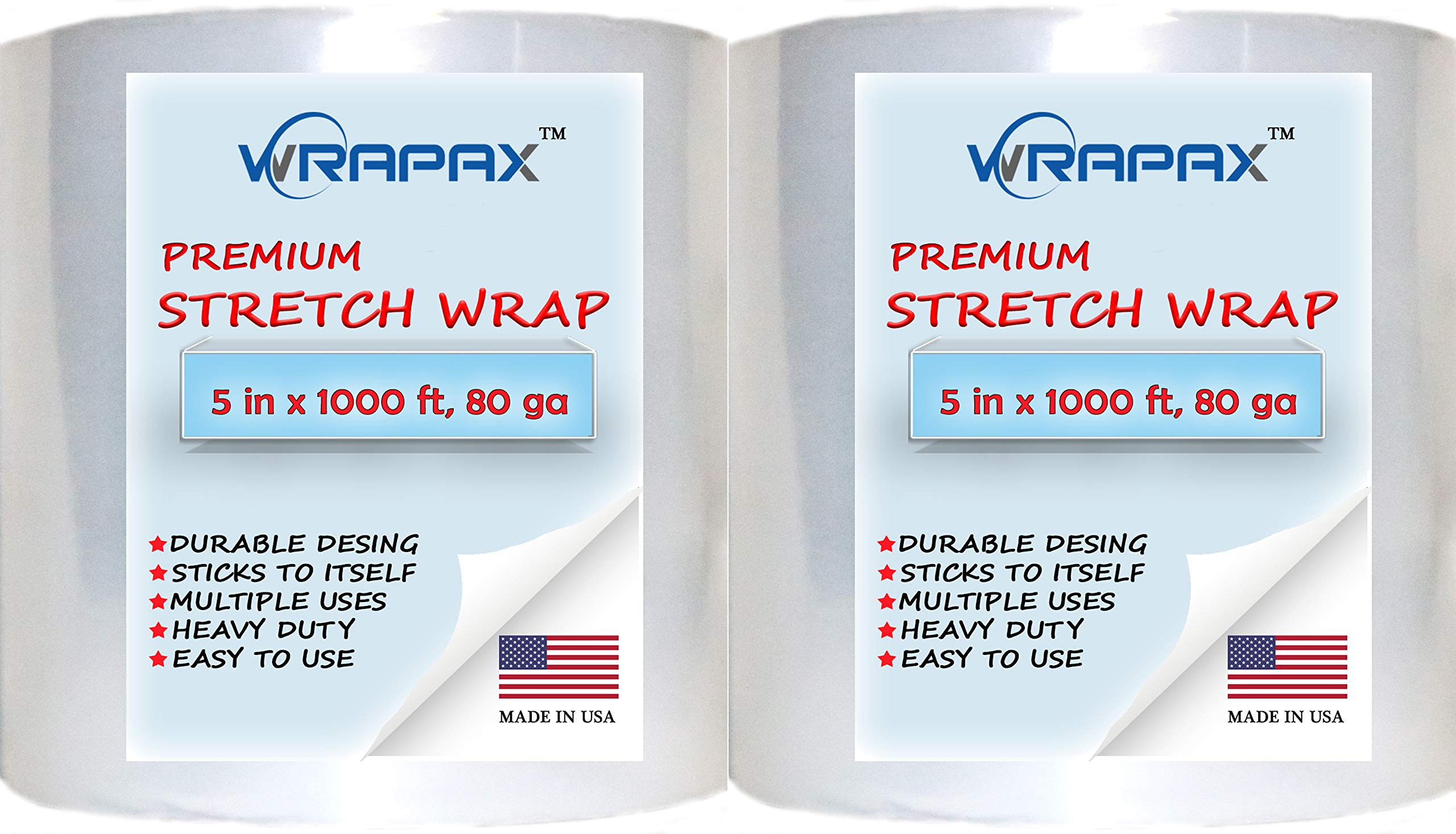 5'' x 1000' 3 Inch Core 80 Ga (20 Micron) Banding Plastic Stretch Wrap - Hand Stretch Film Roll - Quiet Release Shrink Wrap - Shipping and Moving Supplies (2 pack)
