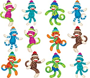 TREND enterprises, Inc. Sock Monkeys Patterns Mini Accents Variety Pack, 36 ct