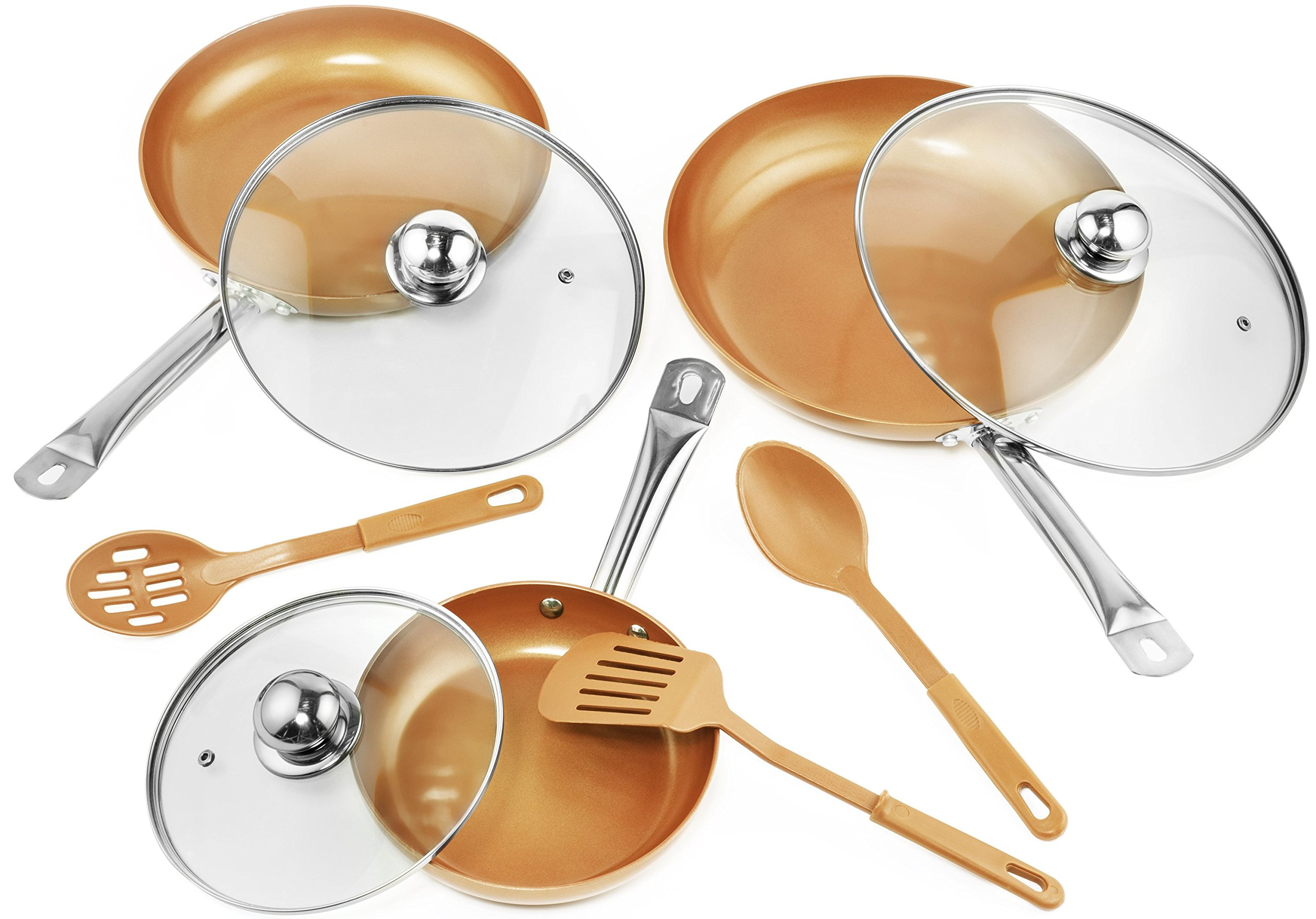 9 Pc Set Copper Frying Pan with Lids and Spoons -Non Stick Chef Pan 8,10 & 12'' - Heavy Duty Tempered Glass Lids, PFOA Free Skillet, Oven & Dishwasher Safe 3 Pans 3 Lids 3 Professional Spatula & Spoon by caseguru