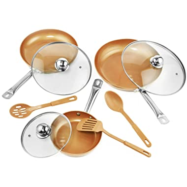9 Pc Set Copper Frying Pan with Lids and Spoons -Non Stick Chef Pan 8,10 & 12'' - Heavy Duty Tempered Glass Lids, PFOA Free Skillet, Oven & Dishwasher Safe 3 Pans 3 Lids 3 Professional Spatula & Spoon
