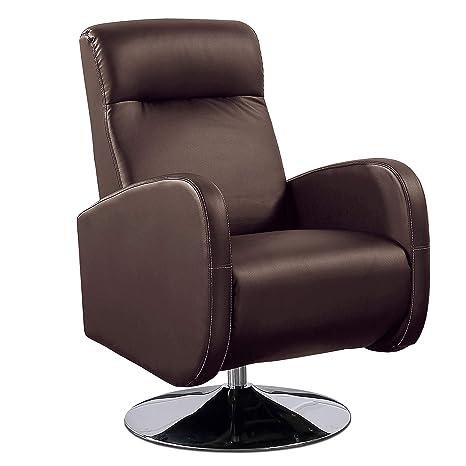 Adec - Living, Sillón Relax Giratorio, tapizado en símil Piel Color Chocolate, butaca Descanso, Medidas: 70 cm (Ancho) x 77 cm (Fondo) 102 cm (Alto)