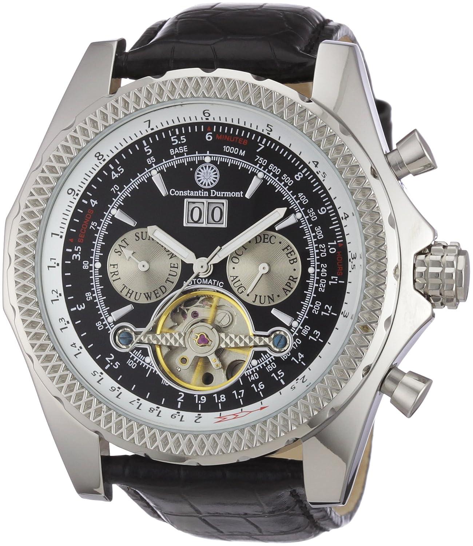 Constantin Durmont Progressive - Reloj analógico de caballero automático con correa de piel negra - sumergible a 30 metros