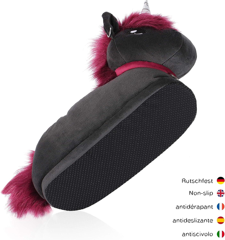 Adults One Size 2.5-11 corimori 1847 Various Animal Designs Carpet Slippers Black-Pink Ruby the Punk-Unicorn Animal Shaped Plush Booties