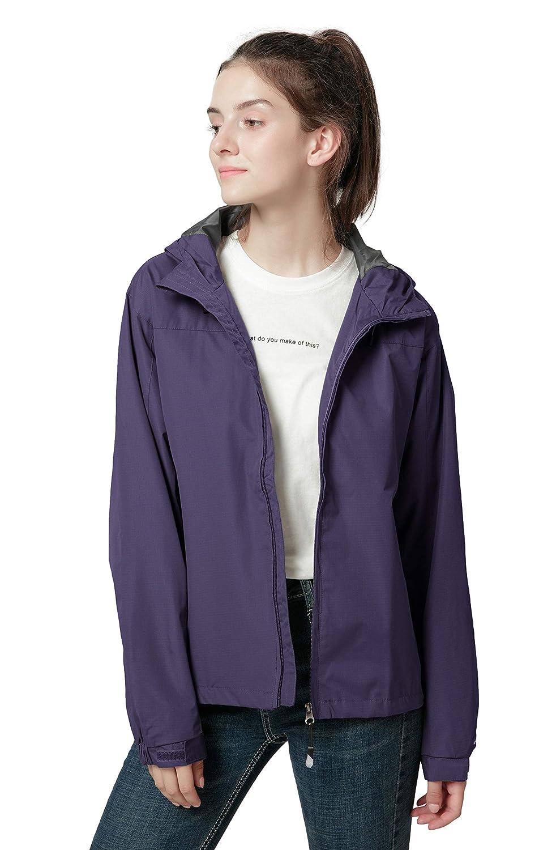 Spmor Women's Waterproof Lightweight Jacket Rain Coat Windproof Skin Hooded Jacket CH-HWWCFY007
