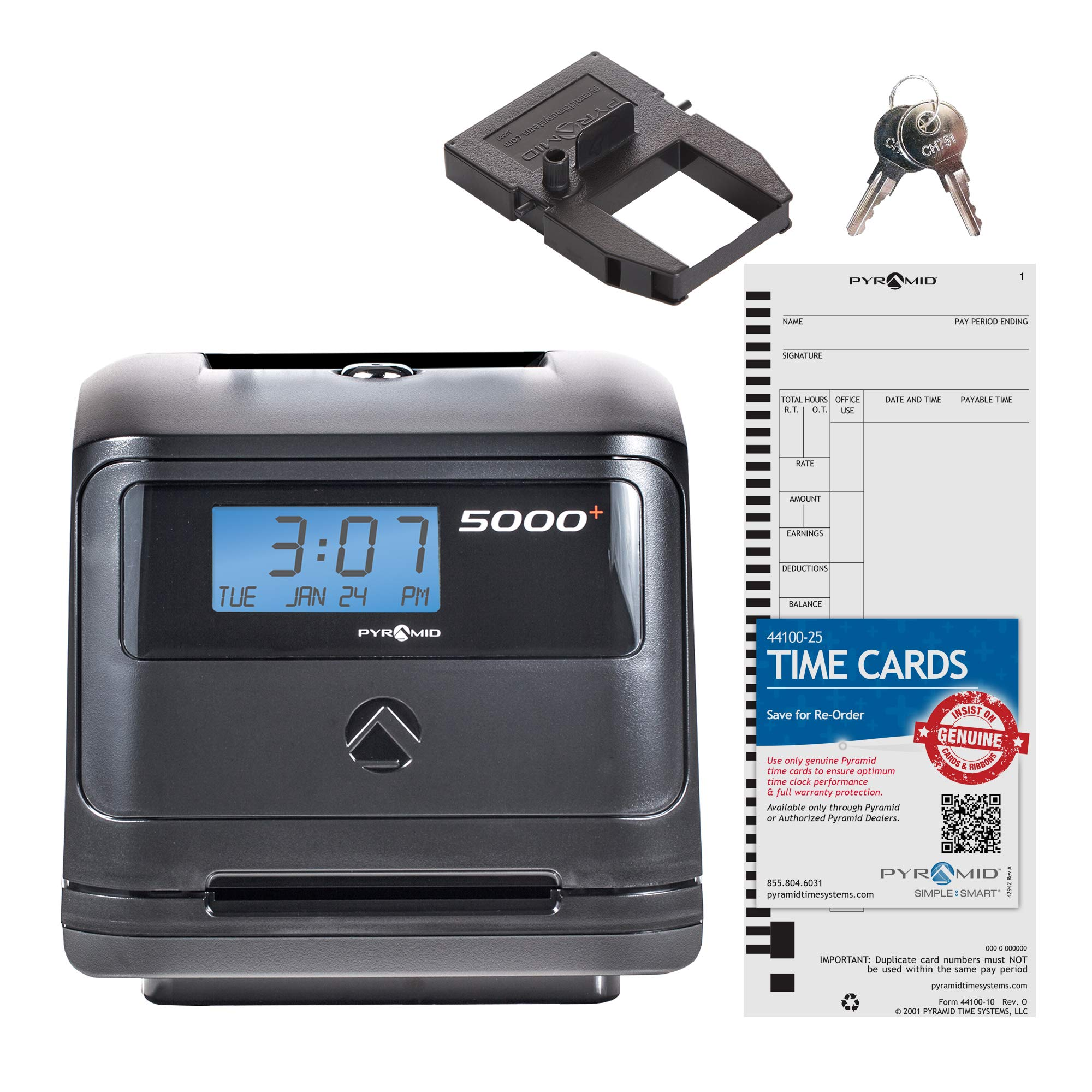Pyramid 5000 Auto Totaling Time Clock, 100 Employees - Made in USA by Pyramid Time Systems
