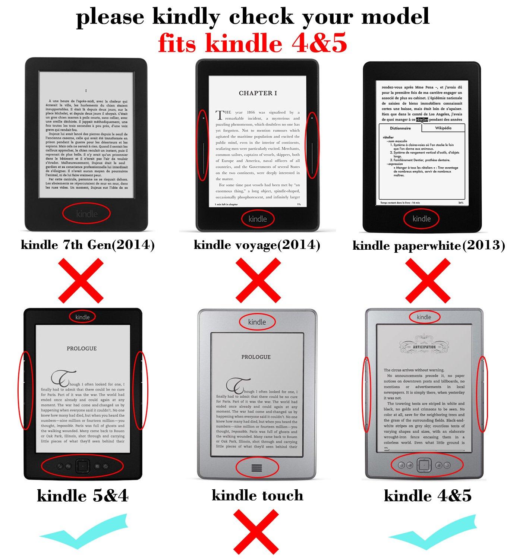 Mulbess® Amazon Kindle 4 Funda de cuero Piel Genuina con luz ...
