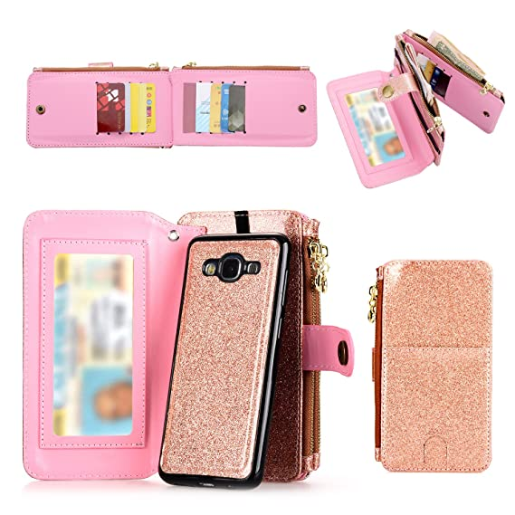best sneakers 1eee4 3786d Galaxy J7 Wallet Case, Improved 12 Card Holder, Dual Zipper Cash Change  Slot, PU Leather Cover with Detachable Magnetic Phone Case - Rose Gold