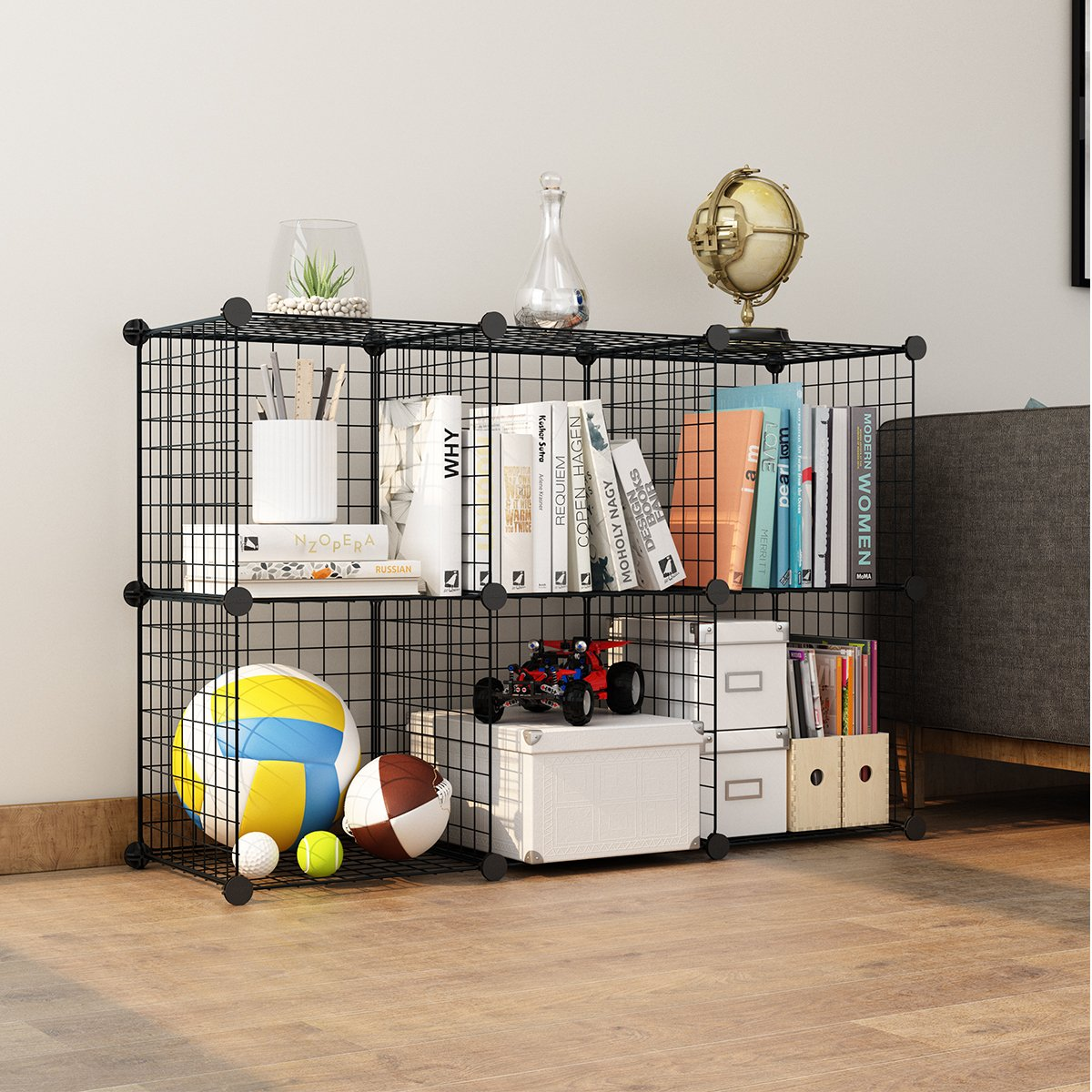 LANGRIA 24 pcs Metal Wire Storage Cubes Organizer, DIY Small Animal Cage for Rabbit, Guinea Pigs, Puppy | Pet Products Portable Metal Wire Yard Fence (Black) by LANGRIA (Image #3)
