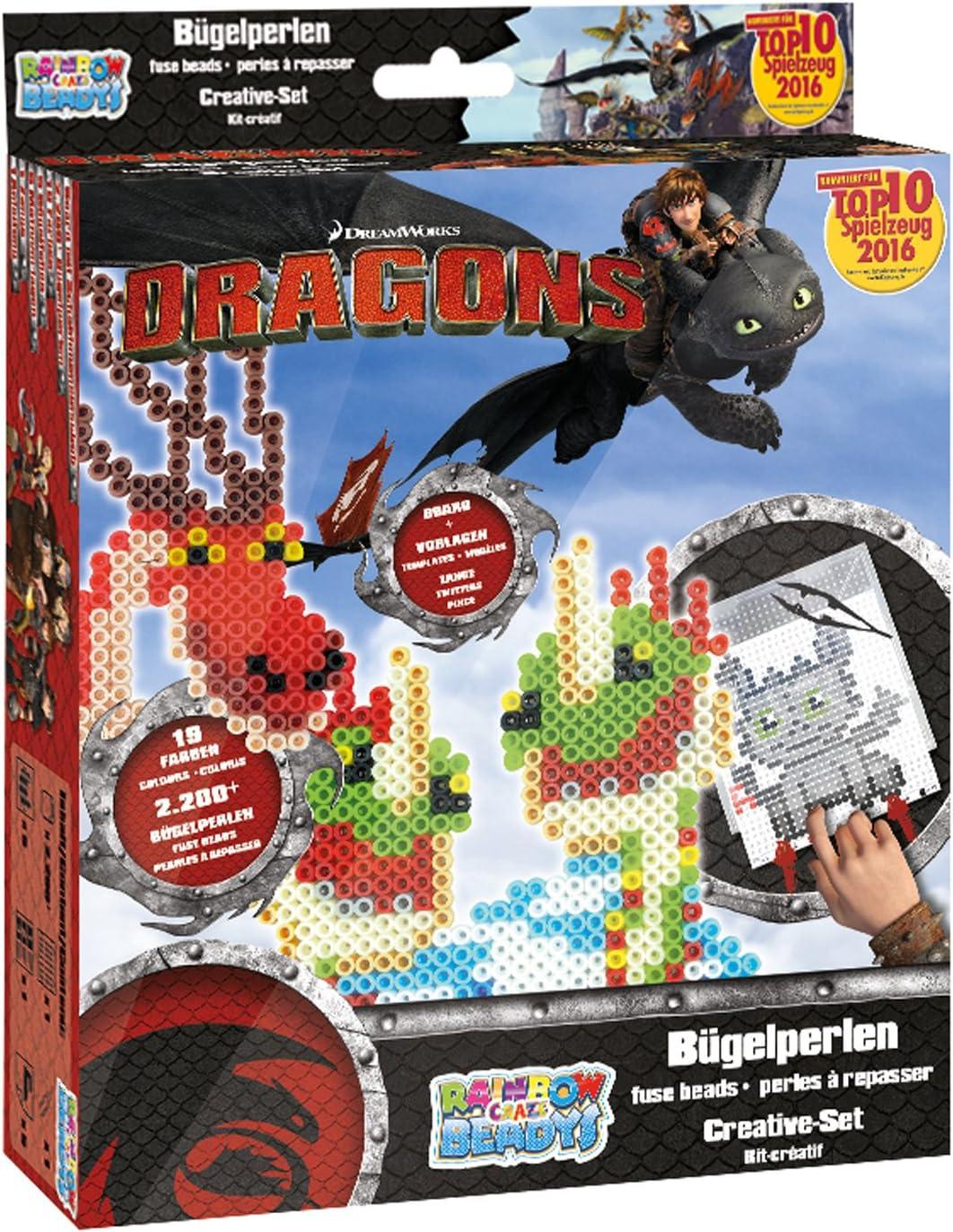 Craze 54445–Rainbow beadys cuentas Set Creativo Dreamworks Dragons, 2200perlas Incluye Accesorios, Negro , Modelos/colores Surtidos, 1 Unidad