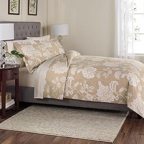 tan duvet cover. Sonoma Petaluma Tan Floral 3 Pc Cotton Duvet Cover Set Full Queen Size Bed