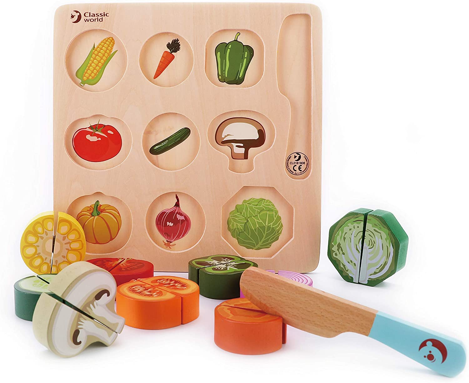 Classic World Wooden Cutting Vegetables Set for Kids,Pretend Play Food Toy Set with Wooden Knife and Tray