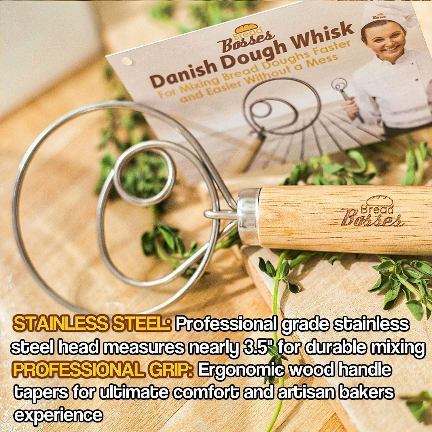 Danish Dough Whisk for Bread Making - Kitchen Grade Hand Mixer and Blender for Baking Cake, Dessert, Pizza, Pastry, Sourdough, Cooking - Stainless Steel Hook Wisk with Large Comfort Grip Wooden Handle by Bread Bosses (Image #9)