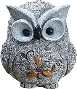 Roman Garden - Pebble Owl Statue, 7.7H, Pudgy Pals Collection, Resin and Stone, Decorative, Garden Gift, Home Outdoor Decor, Durable, Long Lasting