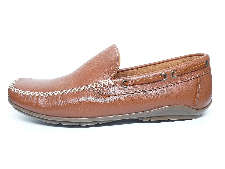 Zapato casual hombre tipo mocasin DELTELL en piel color cuero - 935 ...