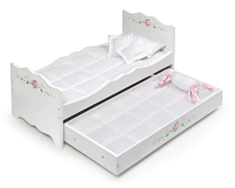 Badger Basket Rose Doll Bed With Trundle Fits American Girl Dolls White