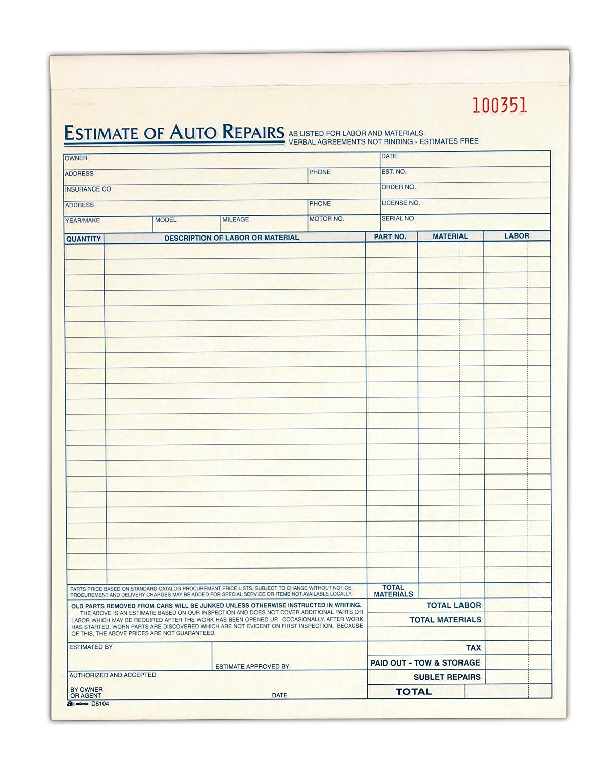 Amazon.com : Auto Repair Estimate Book, 2-Part, Carbonless, 8.38 x ...