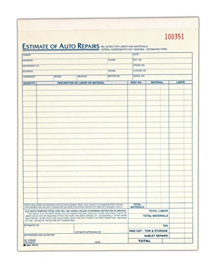 Car Repair Estimate >> Auto Repair Estimate Book 2 Part Carbonless 8 38 X 10 69 Inches White Canary 50 Sets Per Book D8104