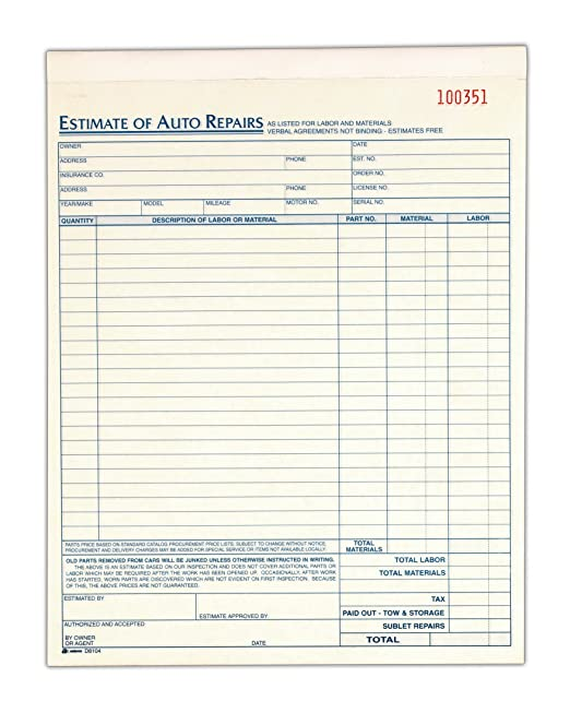 AmazonCom  Auto Repair Estimate Book Part Carbonless  X