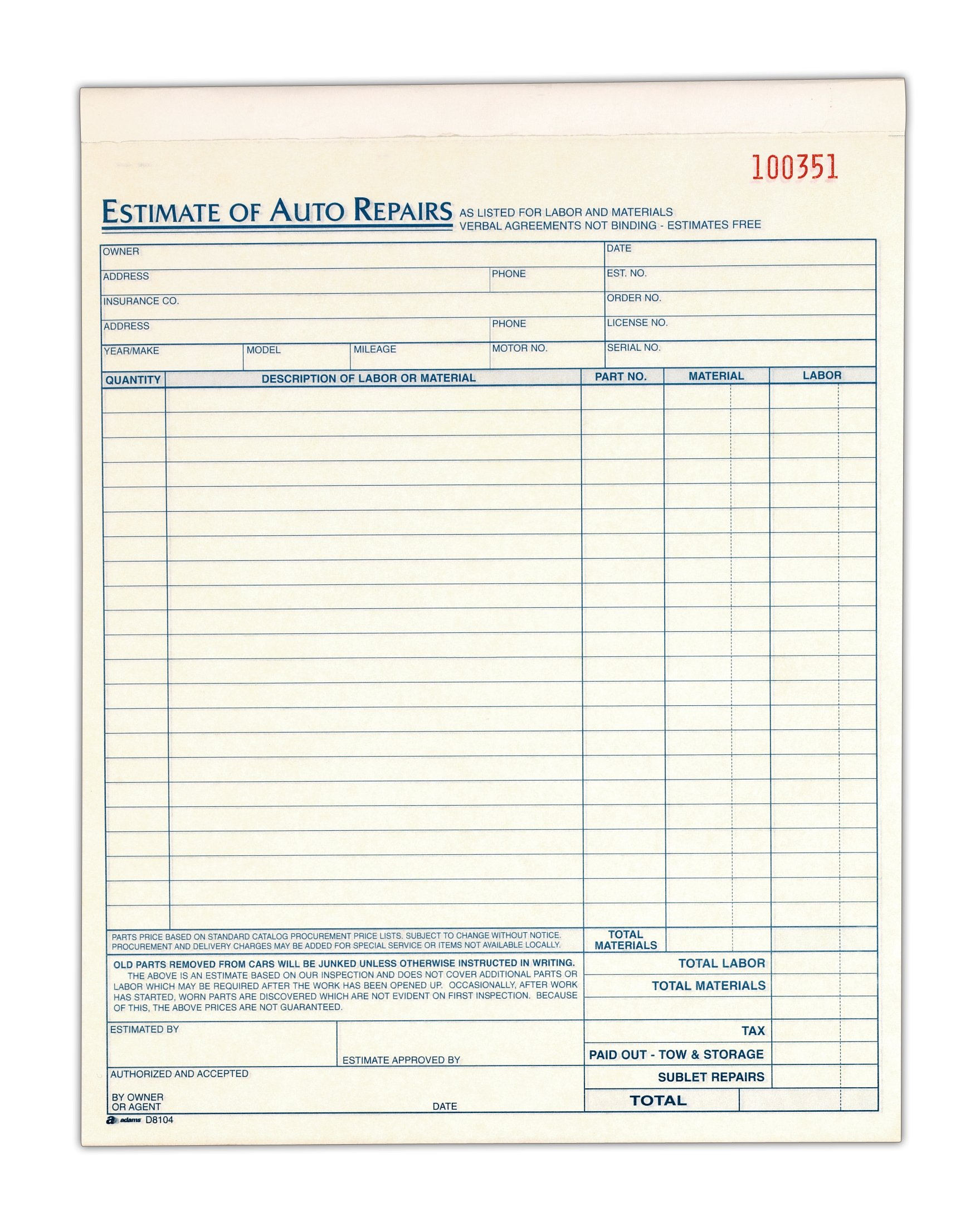 Auto Repair Estimate Book, 2-Part, Carbonless, 8.38 x 10.69 Inches, White/Canary, 50 Sets per Book (D8104)