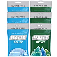 HALLS Relief Variety Pack Mountain Menthol and Assorted Mint Sugar Free Cough Drops...