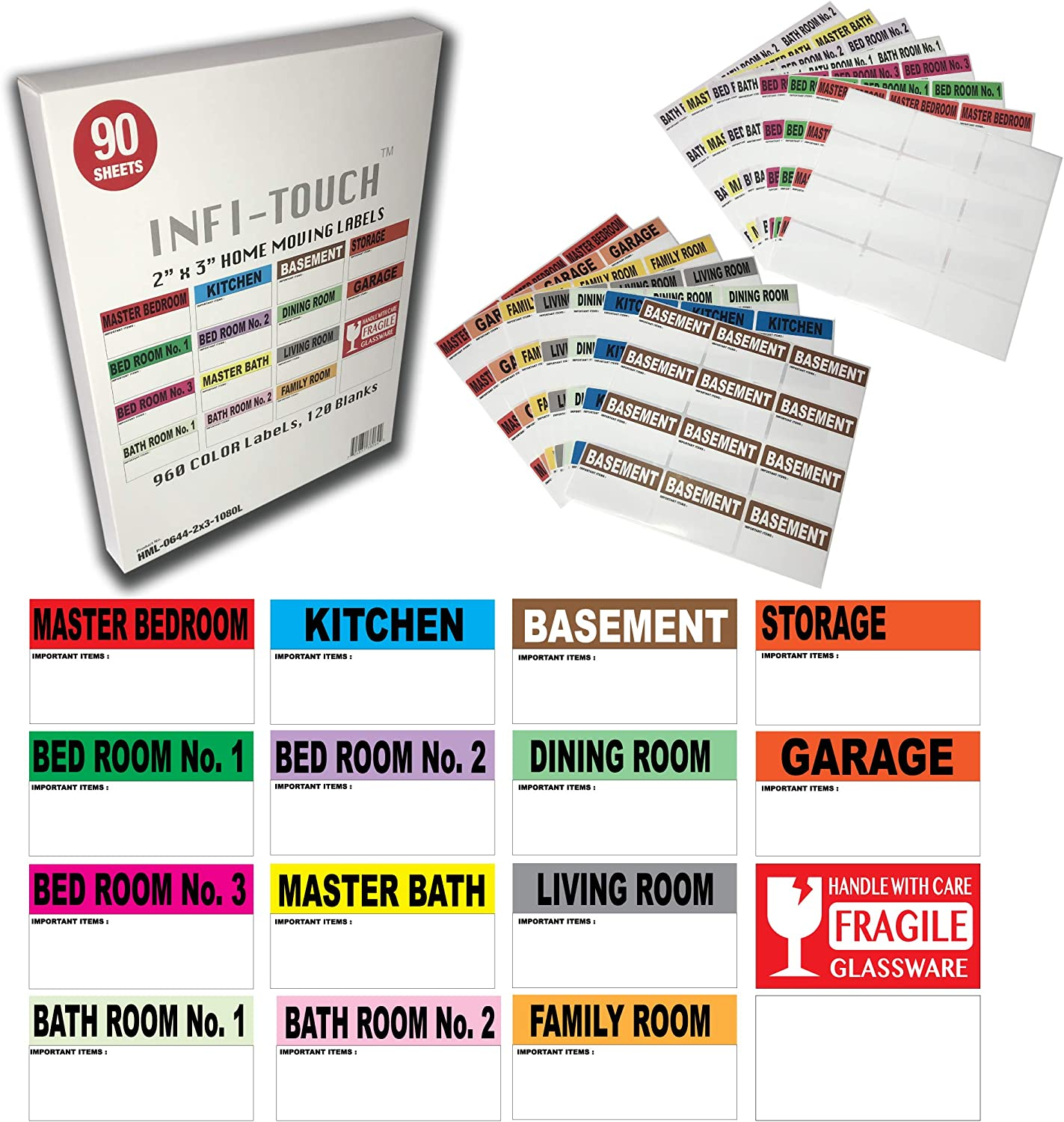 "Infi-Touch 1080 Large Moving Labels -960 Color Coded, 120 Blanks, 90 Sheets –12 Labels Par Sheet- with Fragile Stickers |2"" x 3"" Size