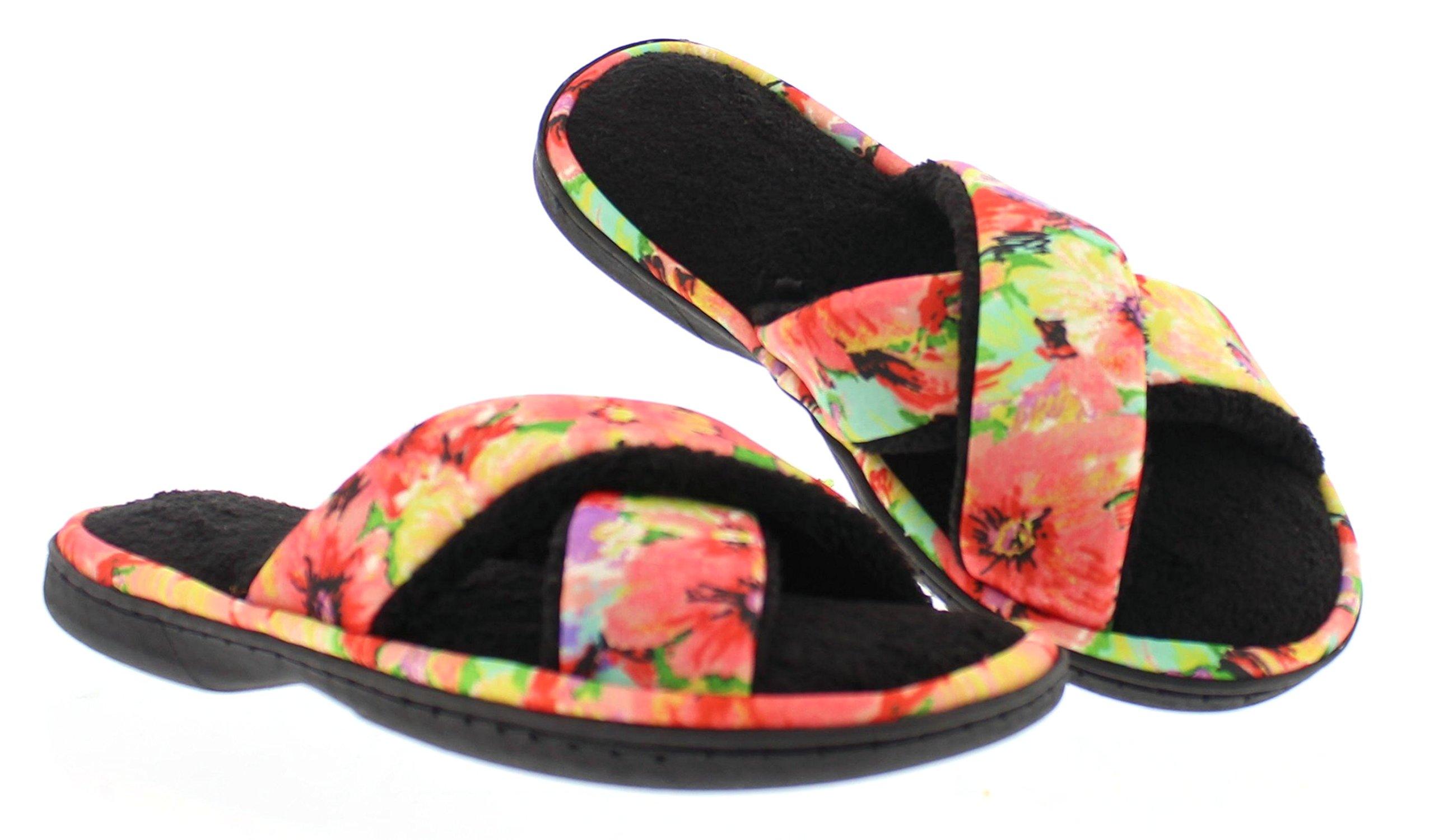 Ramira Womens Open Toe House Slippers Slides,Soft Memory Foam Flip Flop Slipper Summer Indoor Outdoor UseBlack XL 10-11 US