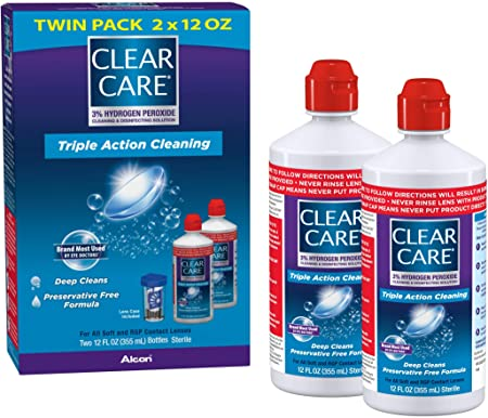 Clear Care Cleaning & Disinfecting Solution with Lens Case, Twin Pack, 12 Fl Oz