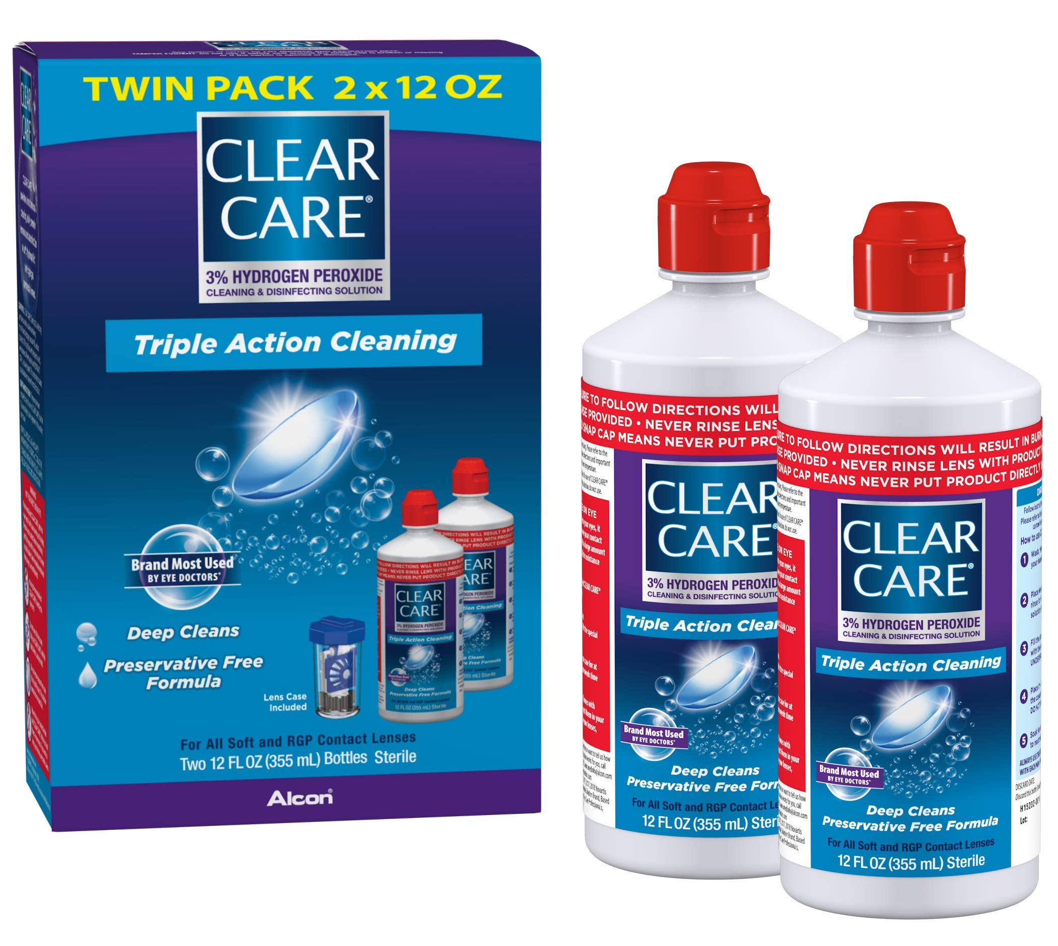 Clear Care Cleaning & Disinfecting Solution with Lens Case, Twin Pack, 12 Fl Oz (Pack of 2)