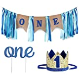 Baby 1st Birthday Boy Decorations WITH Crown - Baby Boy First Birthday Decorations High Chair Banner - Cake Smash Party Supplies - Happy Birthday ONE Burlap Banner, No.1 Crown, Glitter Cake Topper
