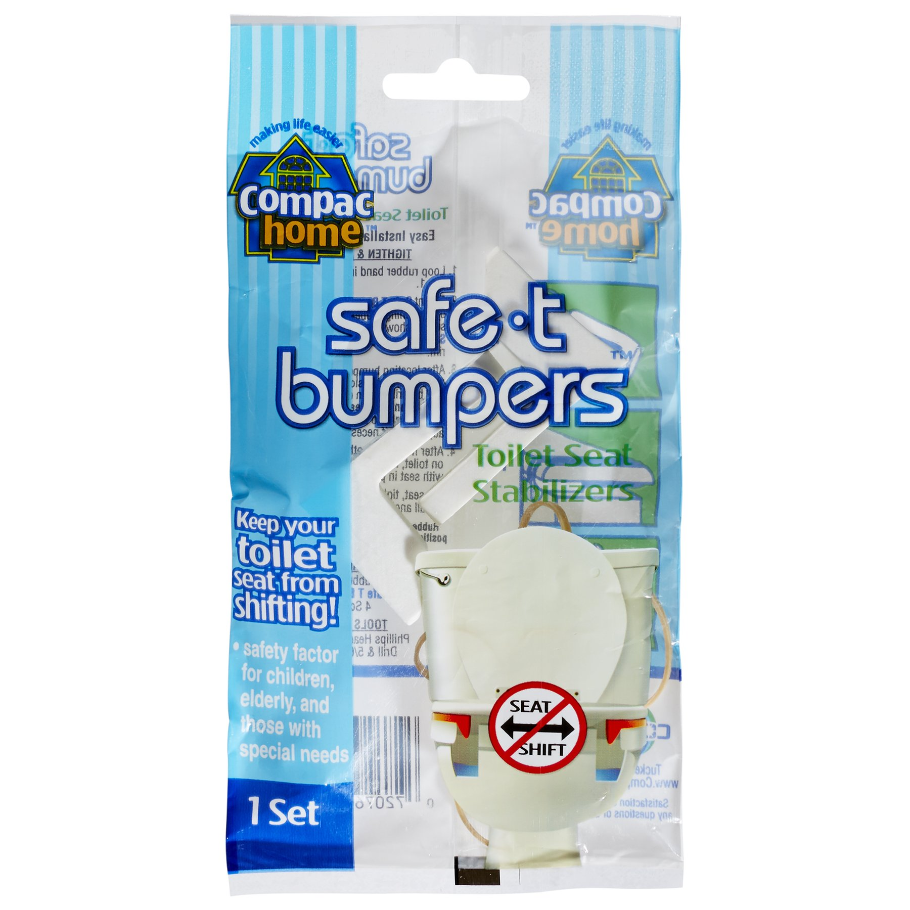 COMPAC HOME Compac's Stabilizers T Bumpers, Lock Place, Keeps Children, Elderly, Disabled Safe from Slipping Off Shaking, Moving or Wobbly Toilet Seat (1 Set), White, 1 Count (Pack of 1)